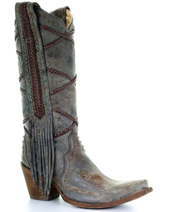 Ladies blue and brown snip toe with braiding and fringe - A3147 Corral boot