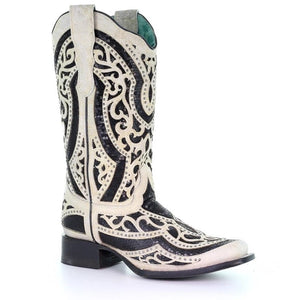 Distressed White & Black Sequin Boots by Corral (E1511)