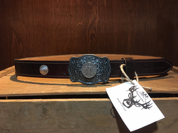 Men's coin leather belt