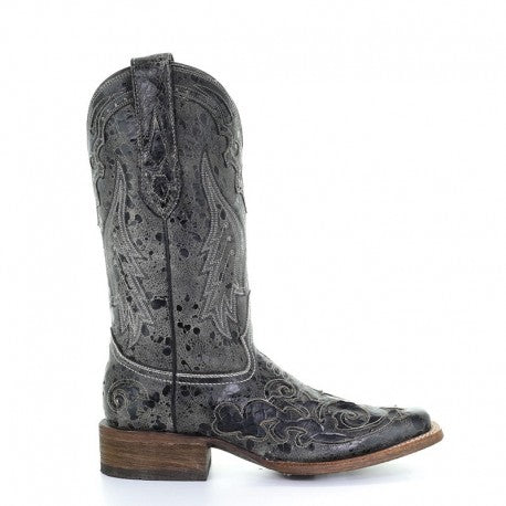Black Python Inlay Square Toe Boots by Corral (A2402)