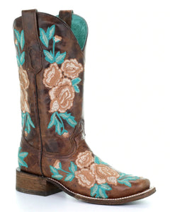 Corral Boots Chocolate Floral Embroidery Square Toe A3527