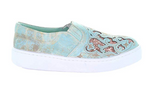 Corral Turquoise and Pink Glitter Inlay Slip-On Sneaker