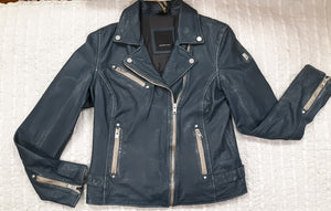 """Sofia"" Leather Jacket Navy in Color"