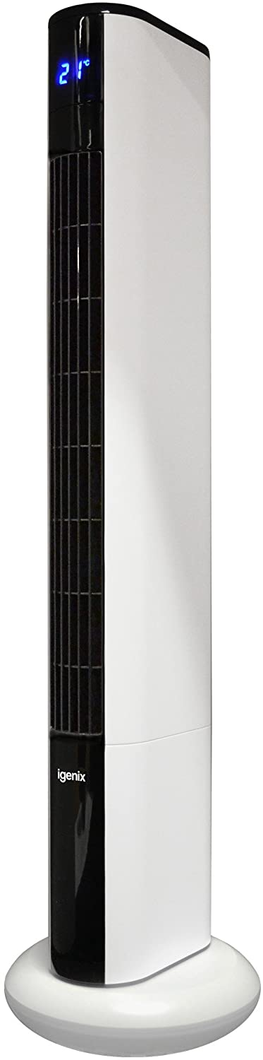 Igenix DF0038 Ultra Quiet Digital Tower Fan with Remote Control, 36 Inch, 8 Speed, 3 Wind Modes, Oscillating, 8 Hour Timer with Auto Turn Off, Ideal for Home and Office, White
