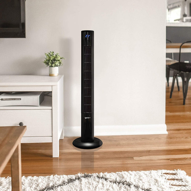 Igenix DF0038 Ultra Quiet Digital Tower Fan with Remote Control, 36 Inch, 8 Speed, 3 Wind Modes, Oscillating, 8 Hour Timer with Auto Turn Off, Ideal for Home and Office, Black