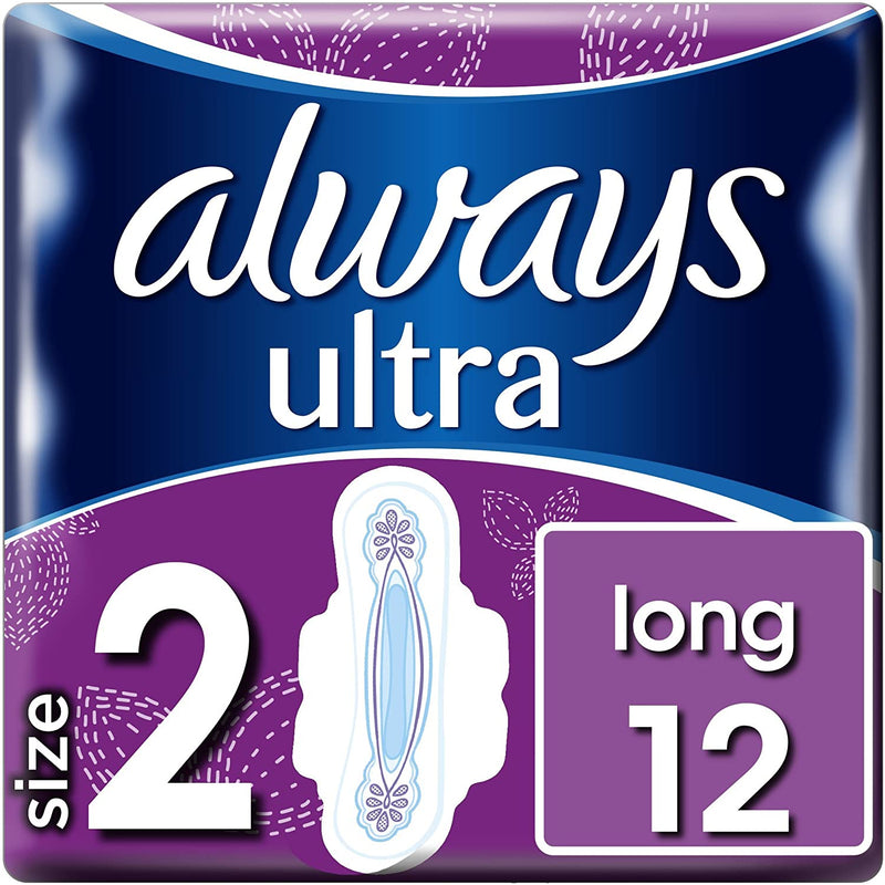 Always Ultra Long Size 2 Sanitary Pads with Wings, Pack of 12 - OUTER OF 12 QTY