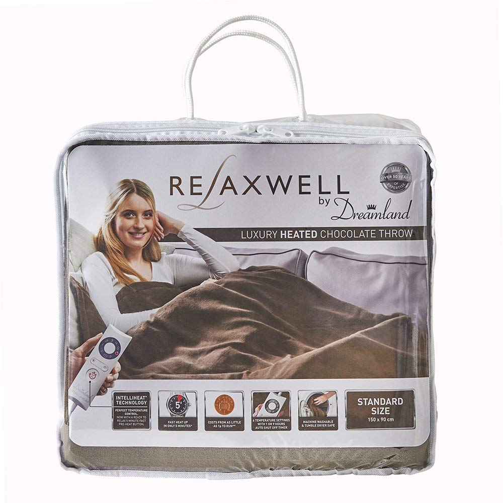 Dreamland 16333 Relaxwell Luxury Heated Chocolate Throw, Polyester, Brown, Single - iShom