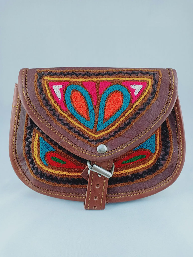 Ethnic Genuine Leather Embroidered Small Sling Bag - iShom