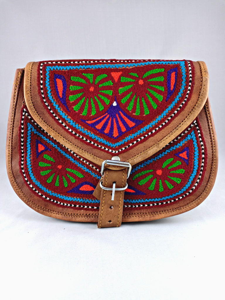 Ethnic Genuine Leather Embroidered Sling Bag - iShom