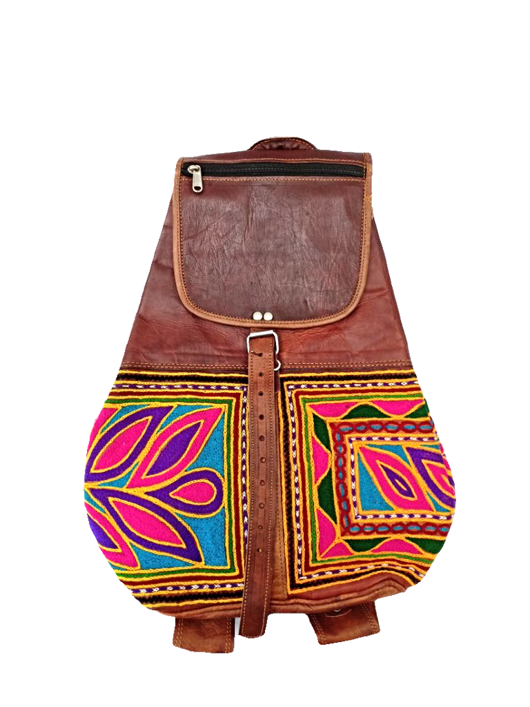 Ethnic Genuine Leather Embroidered Backpack - iShom