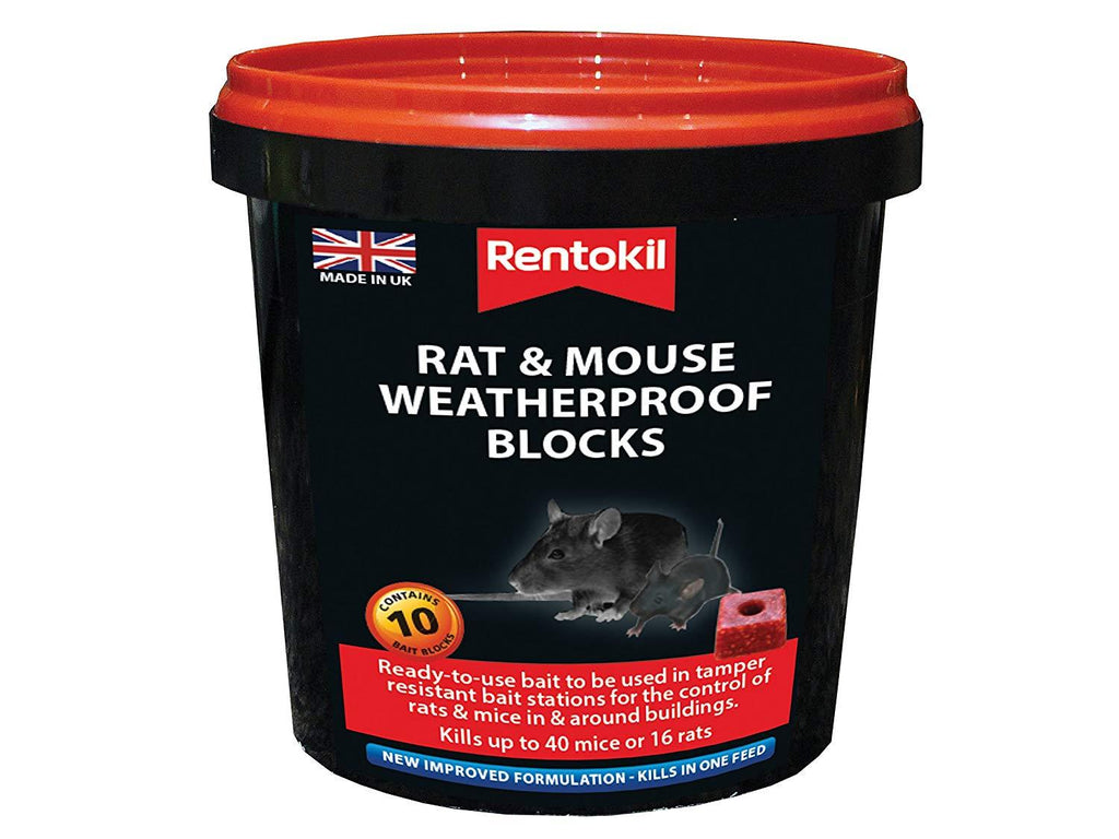 Rentokil PSMR42 mouse and rat weatherproof blocks - 10 per tub | ISHOM