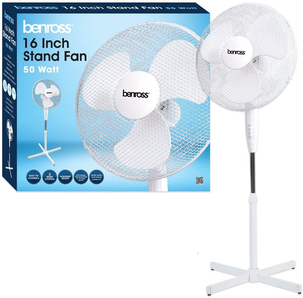 Benross 43930 16 inch 3-Speed Stand Fan Oscillating and Tilting Head, 50W, White, [Energy Class A]