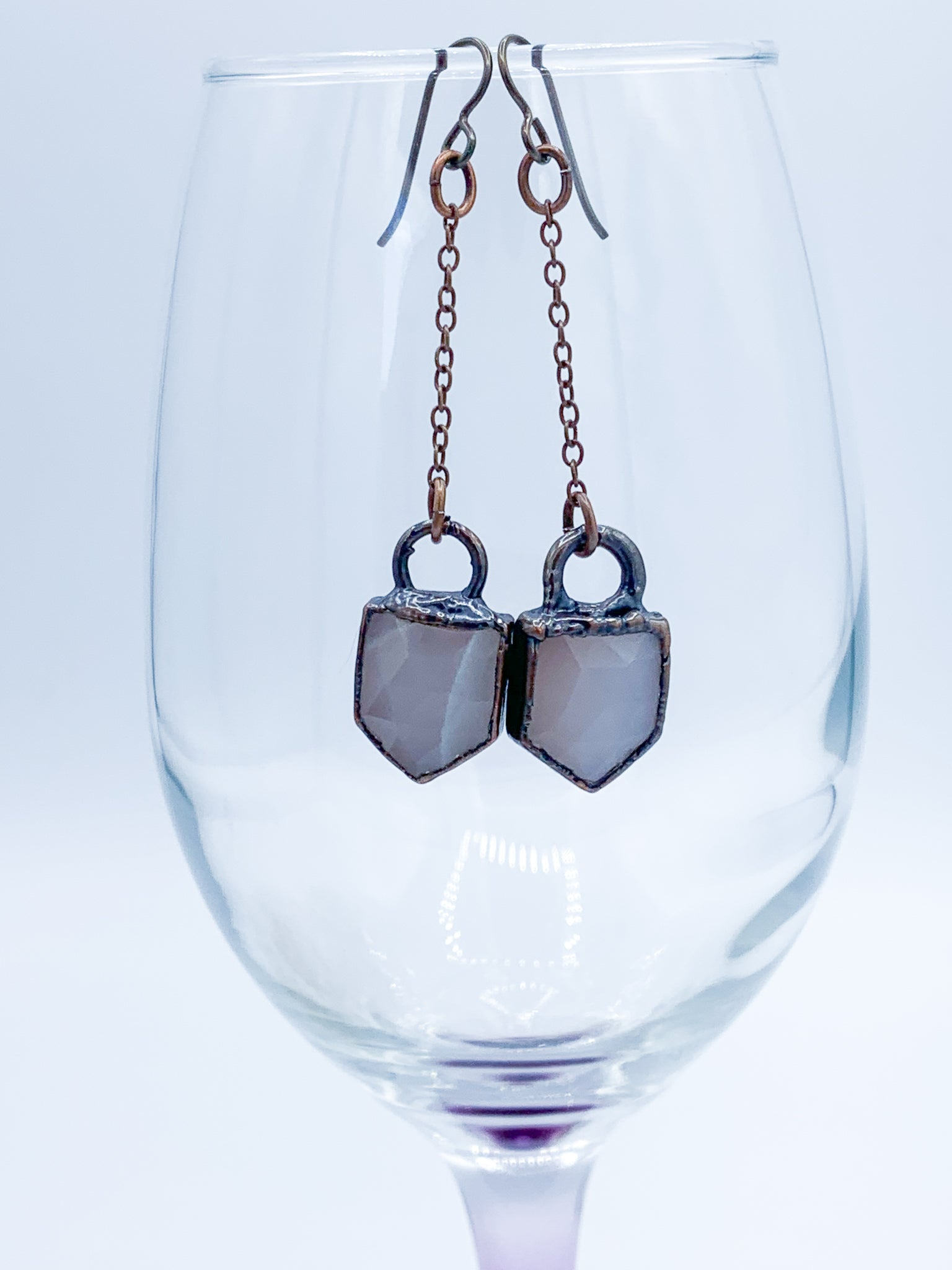 Rose Cut Moonstone Pendulum Earrings - Allie & Tess