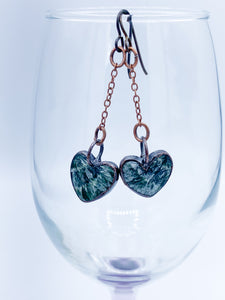 Seraphinite Heart Pendulum Earrings - Allie & Tess