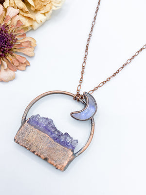 Moonstone Moon over Amethyst Mountains Pendant