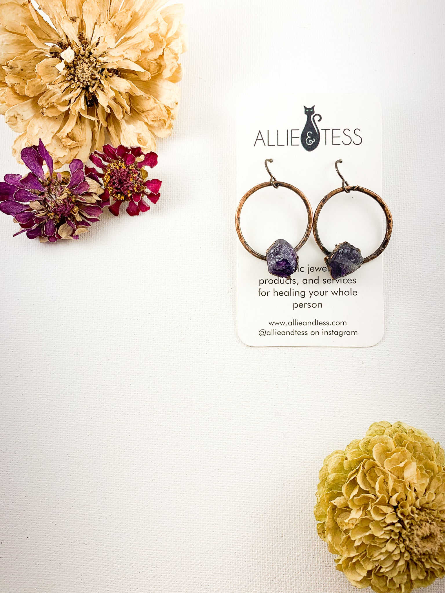 Amethyst Hoops - Allie & Tess