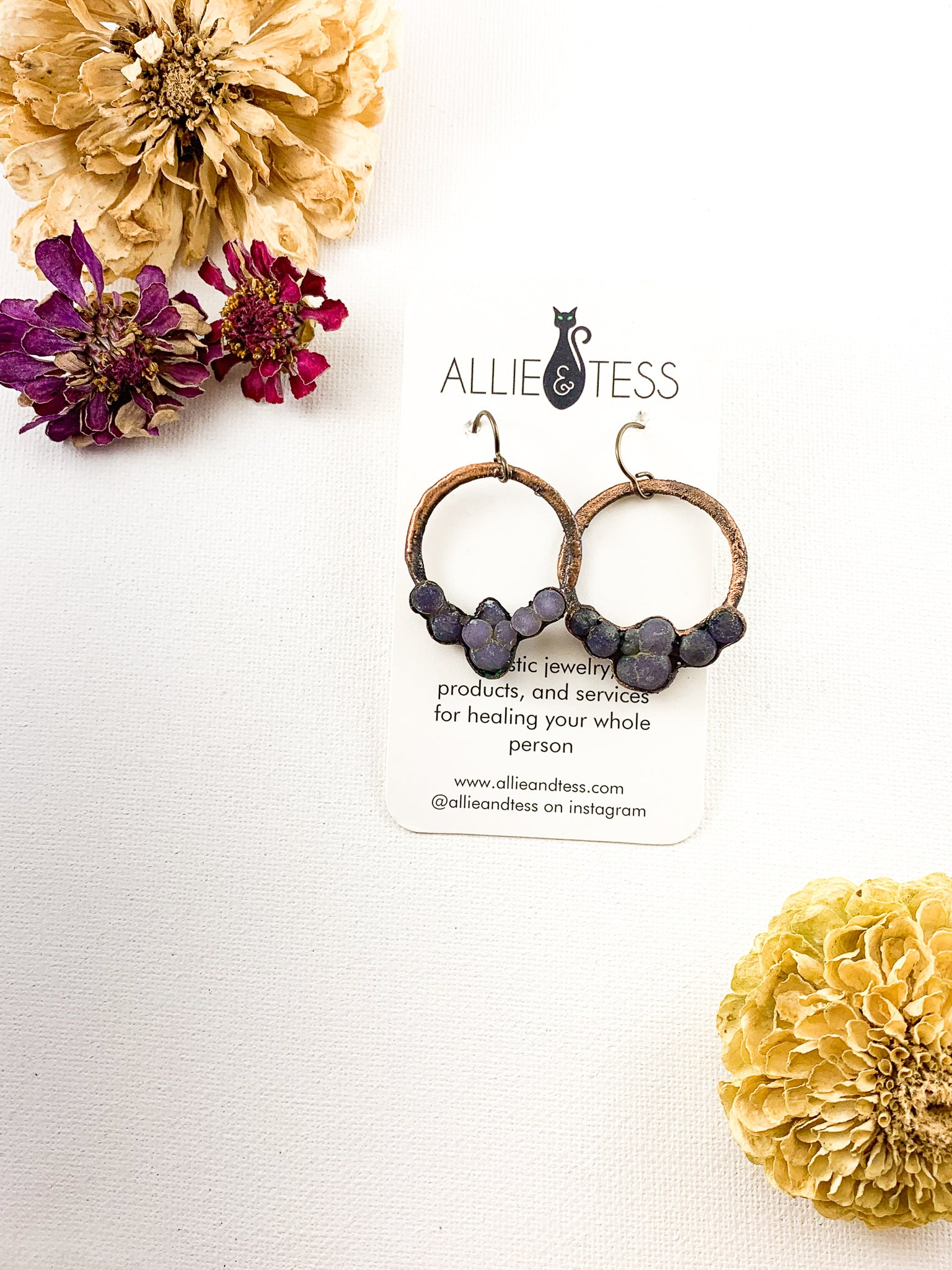 Grape Agate Hoops - Allie & Tess