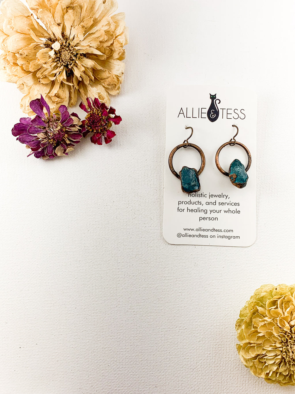 Blue Apatite Hoops - Allie & Tess