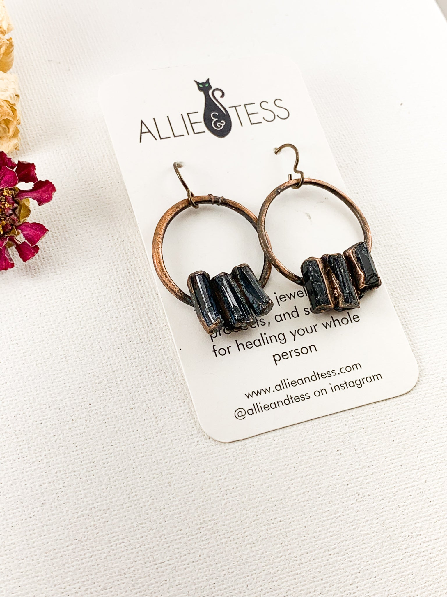 Black Tourmaline Hoops - Allie & Tess