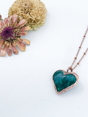 Malachite Heart Pendant - Allie & Tess