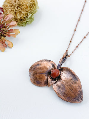 Wandering Jew Leaf Pendant with Red Jasper - Allie & Tess