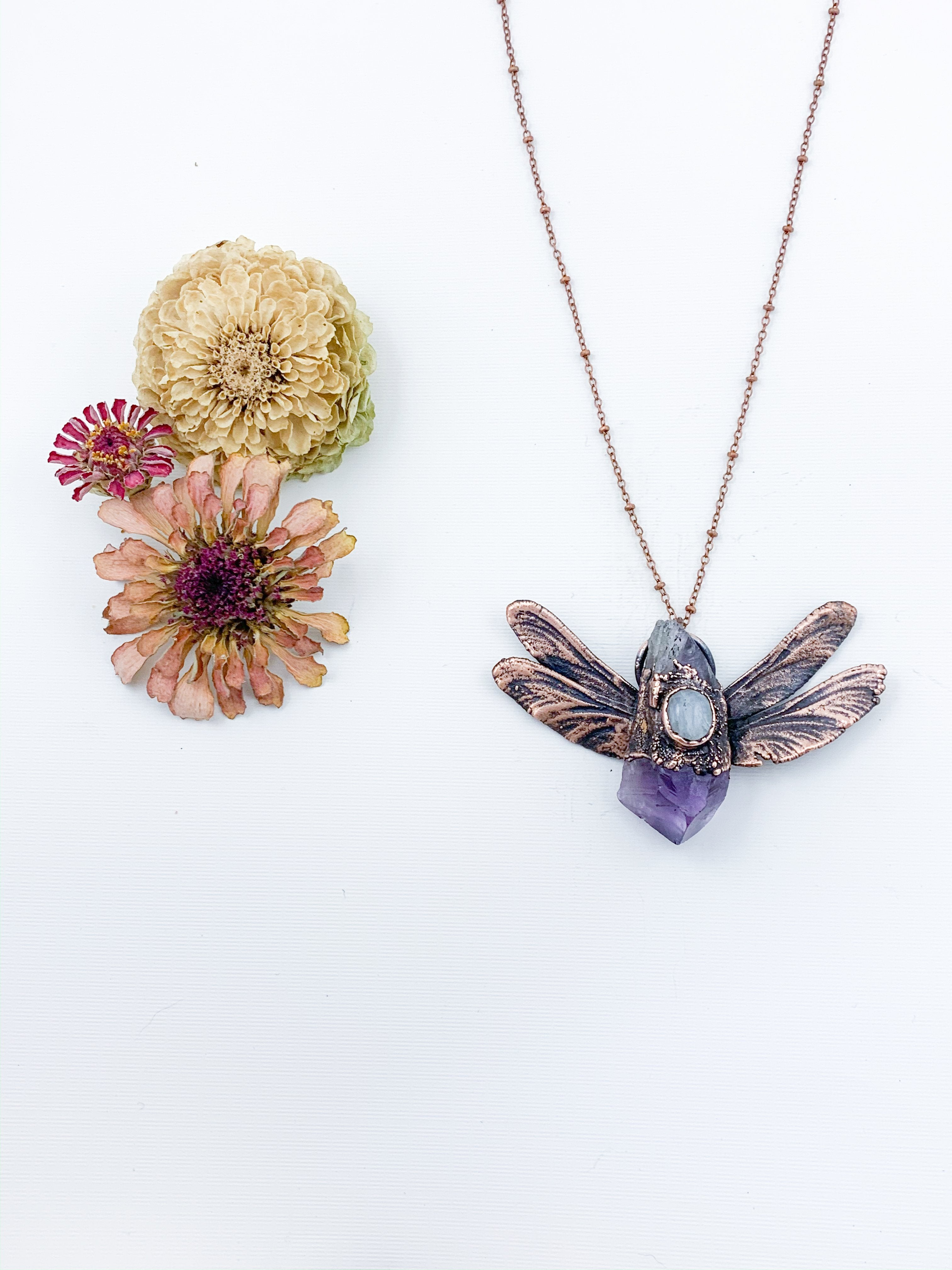 Amethyst Dragonfly Pendant with Moonstone - Allie & Tess