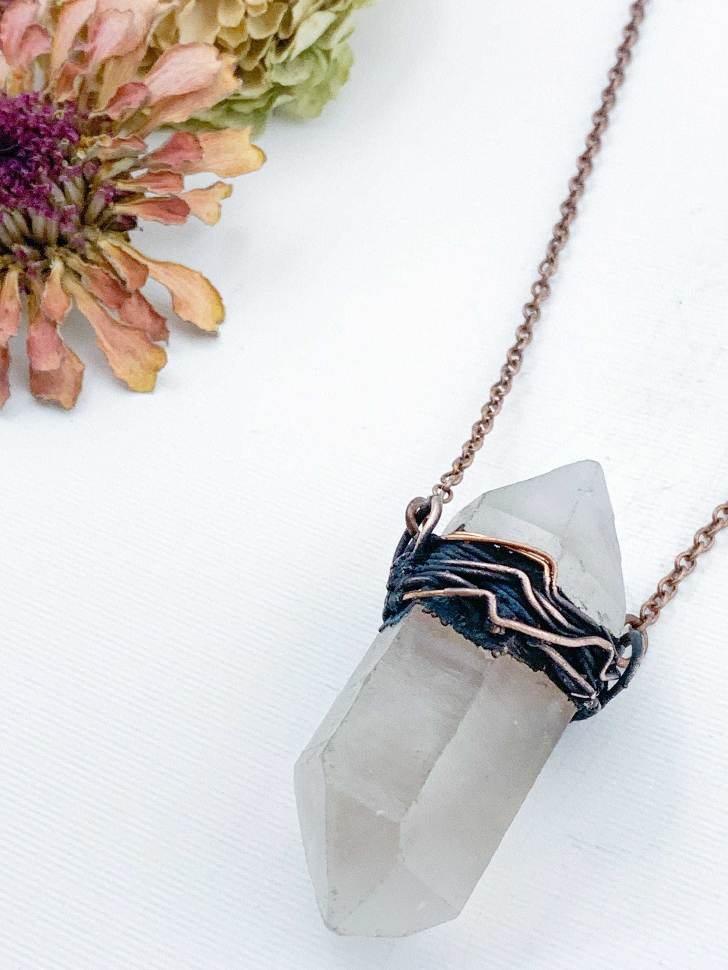 Double Terminated Clear Quartz Pendant - Allie & Tess