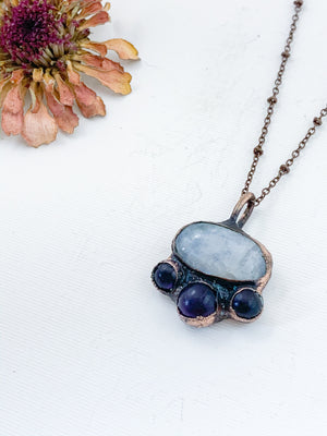 Moonstone with Amethyst Triplet Pendant - Allie & Tess