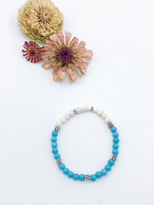Beaded Turquoise and White Howlite Bracelet - Allie & Tess