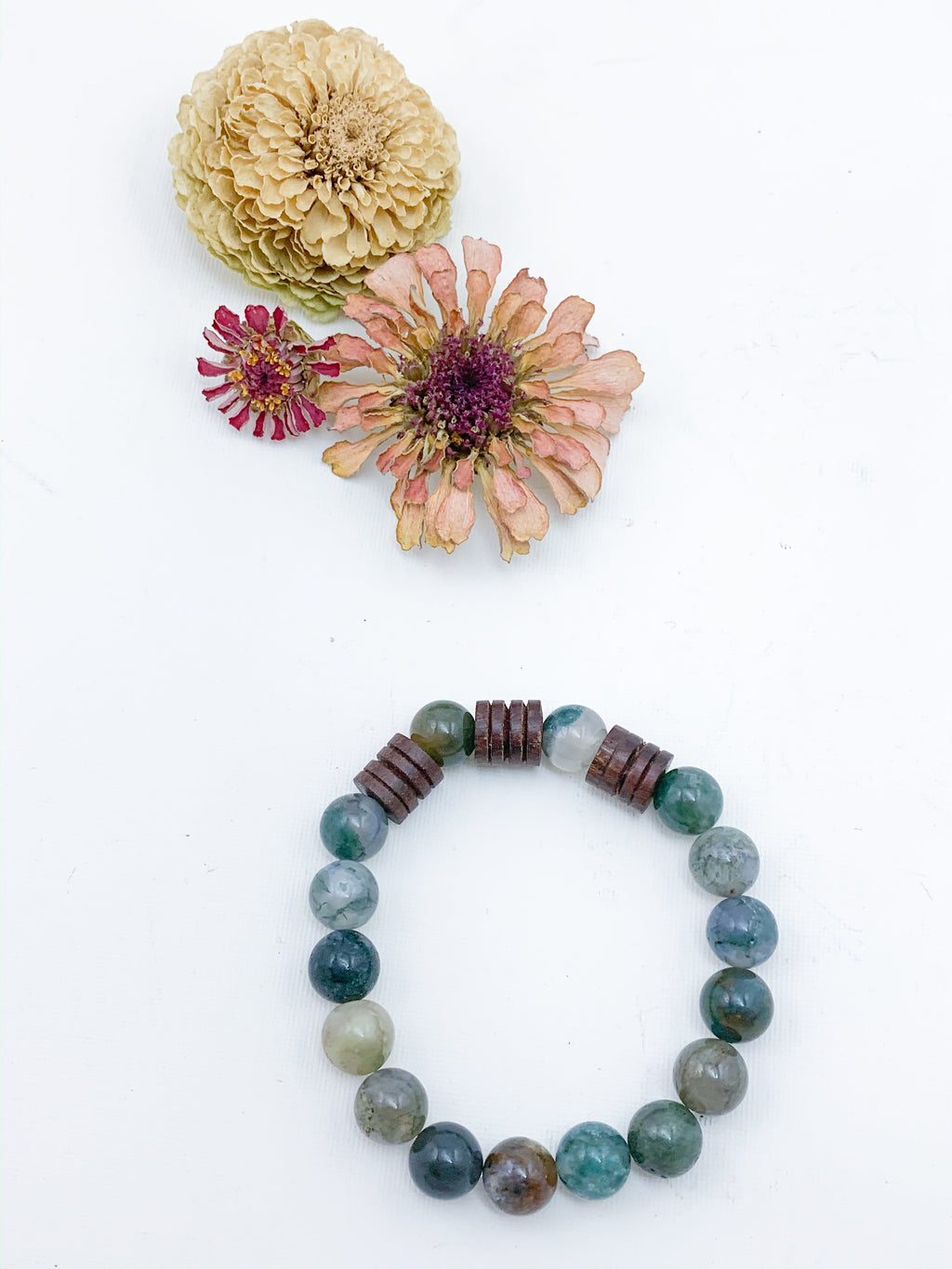 Fancy Jasper Beaded Bracelet with Wooden Accents - Allie & Tess