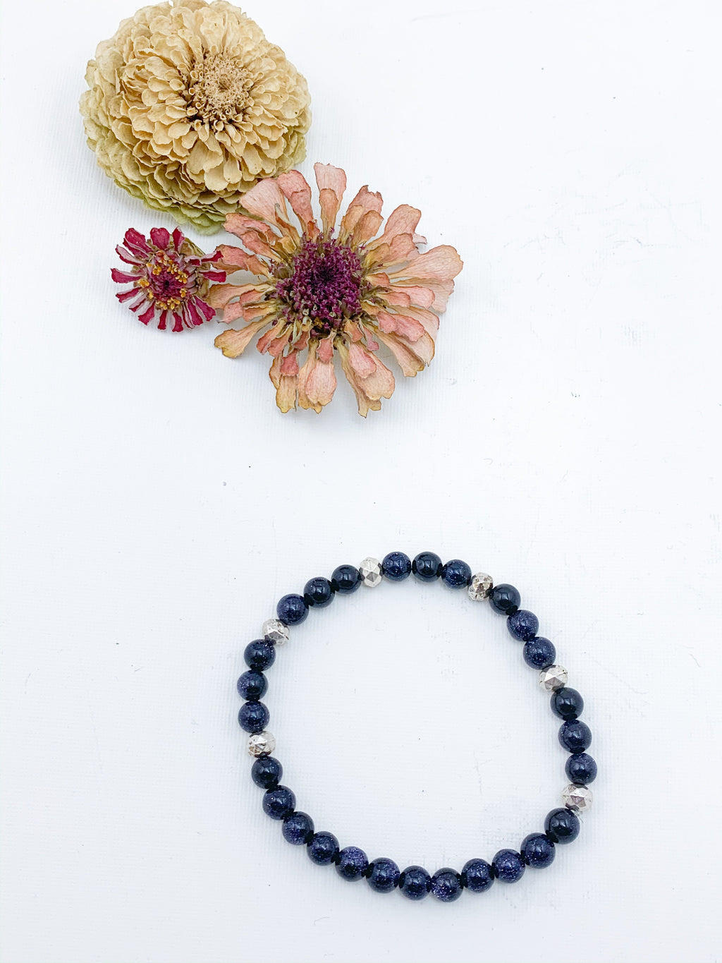 Blue Goldstone and Silver Accent Beaded Bracelet - Allie & Tess