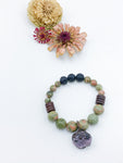 Unakite and Lava Bead Bracelet with Ruby Charm - Allie & Tess