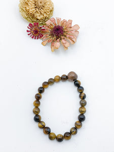 Tiger's Eye Beaded Bracelet with Handmade Copper Bead - Allie & Tess