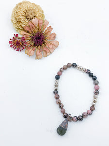Rhodonite Beaded Bracelet with Peridot Charm - Allie & Tess
