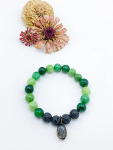 Green Jasper with Lava Bead Bracelet and Labradorite Charm - Allie & Tess