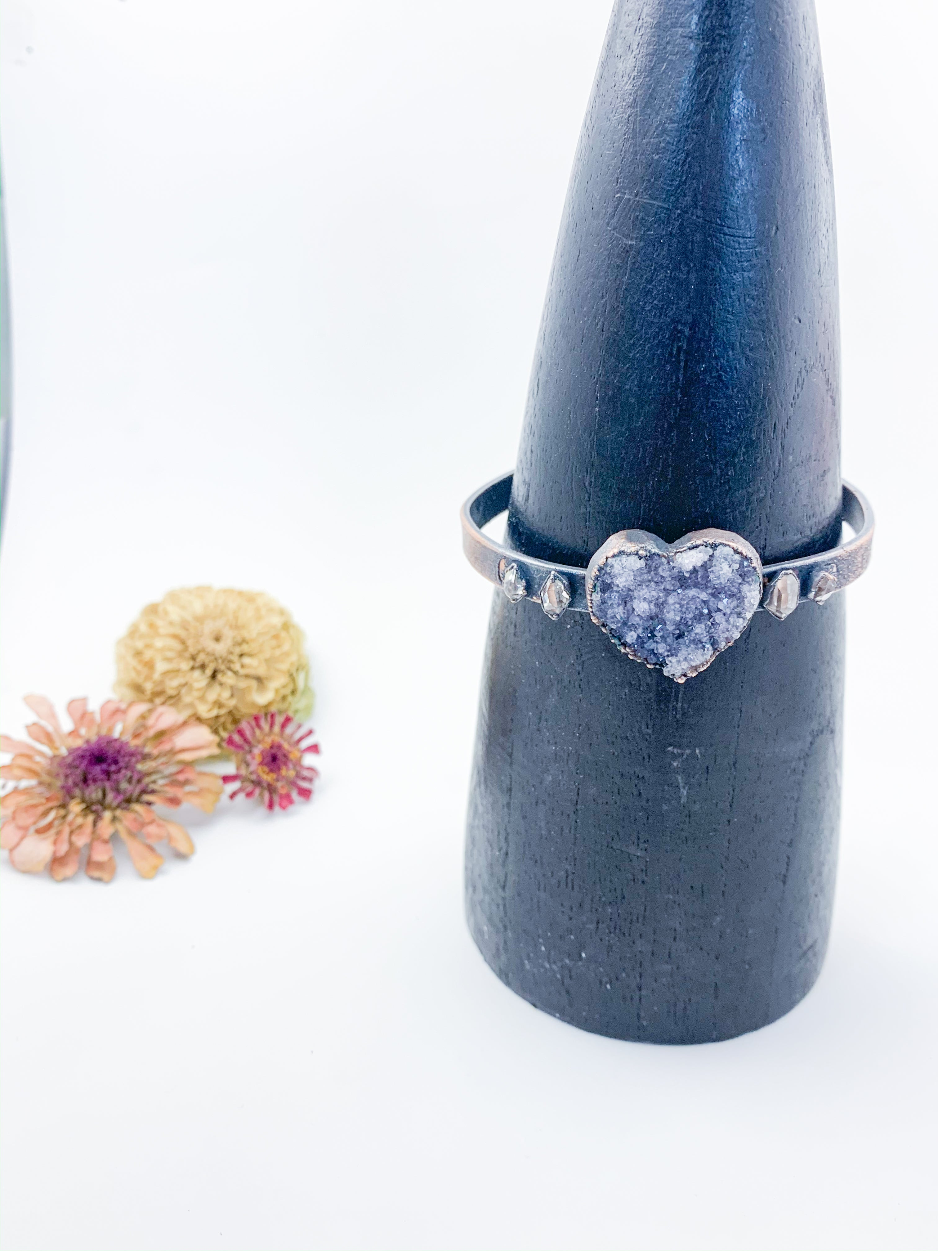 Druzy Amethyst Cuff with Herkimer Diamonds - Allie & Tess