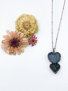 Double Druzy Heart Pendant - Allie & Tess