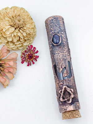 Blue Goldstone Mezuzah - Allie & Tess