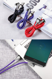 Micro USB Cable LED Fast Charging (90 Degree)