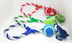 Tug Rope Toy with Tennis Ball Christmas Collection 2020