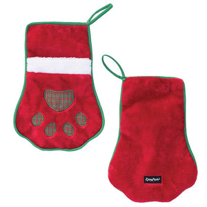 ZippyPaws - HOLIDAY STOCKING RED PAW - Dog Toy