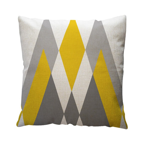 Yellow Geometric Pattern Throw Cushion Cover Home Decor