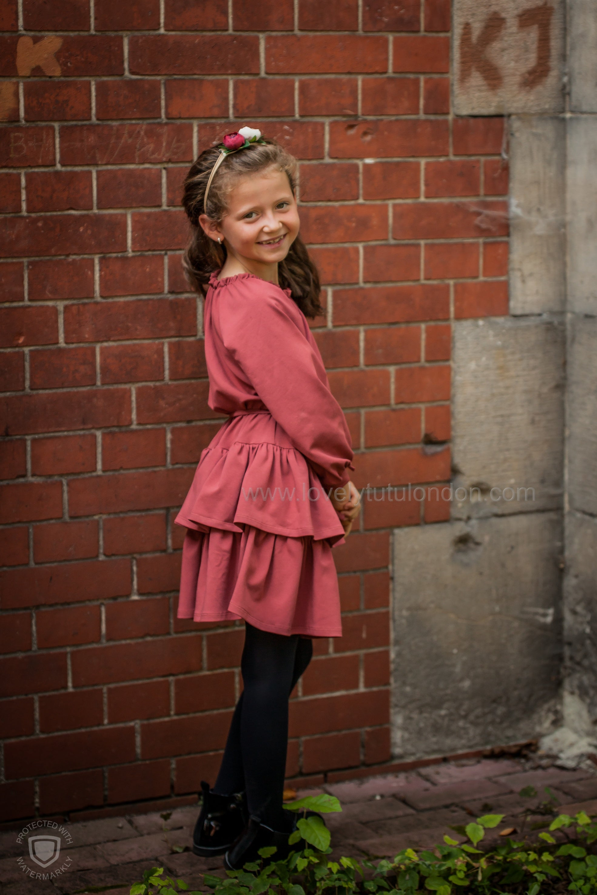 Red Frill Dress (American organic cotton)