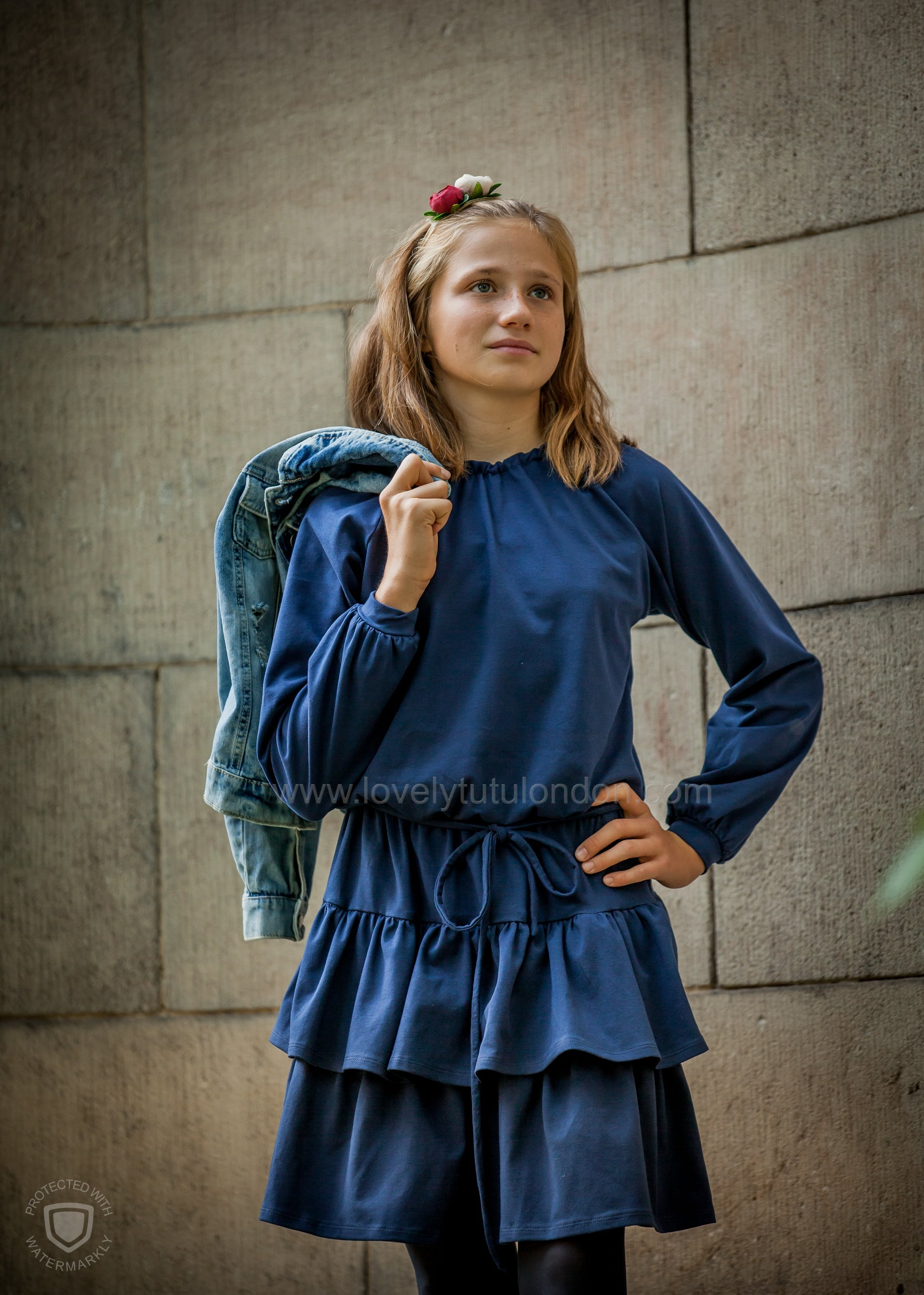 Blue Frill Dress (American Organic Cotton)