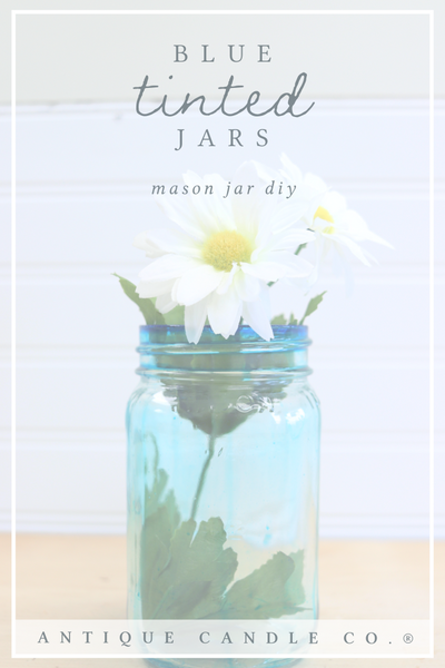 mason jar diy: blue tinted jars