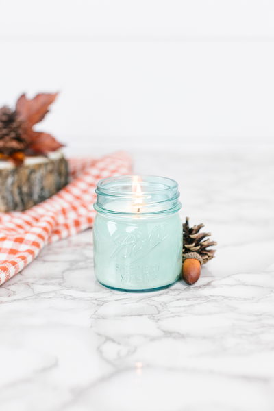 Autumn Woods 8 oz blue jar candle