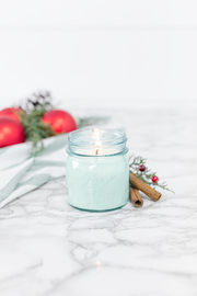 Christmas Day 8 oz blue jar candle