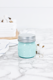 Clean Cotton 8 oz blue jar candle