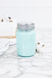 Clean Cotton 16 oz blue jar candle