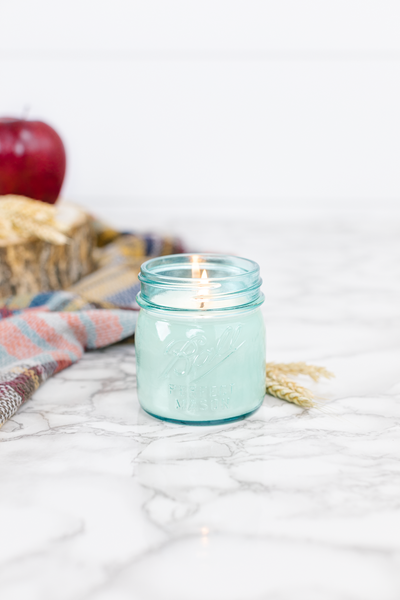 Fall Harvest 8 oz blue jar candle